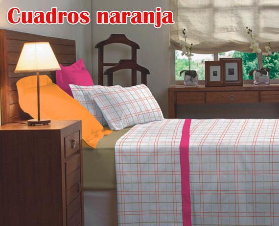 juego-cama-cuadros-naranja
