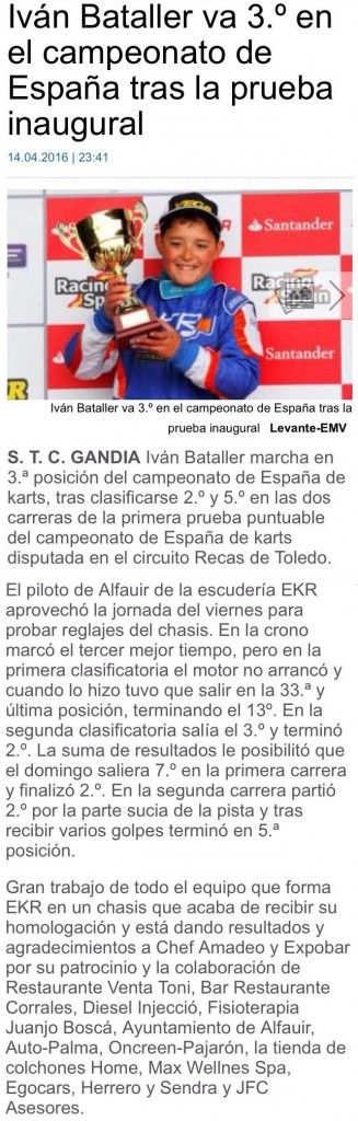 Iván Bataller 3º en el campeonato de España