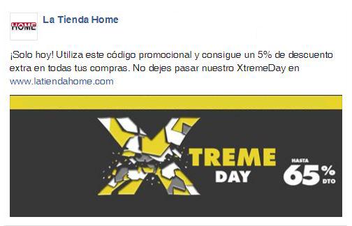 Ejemplo de un Codigo promocional La Tienda HOME