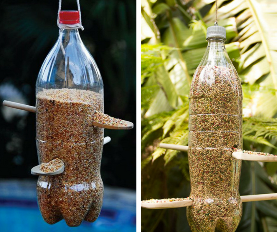 Alimentador para pájaros - Botella de plástico y cucharas de madera - La Tienda Home
